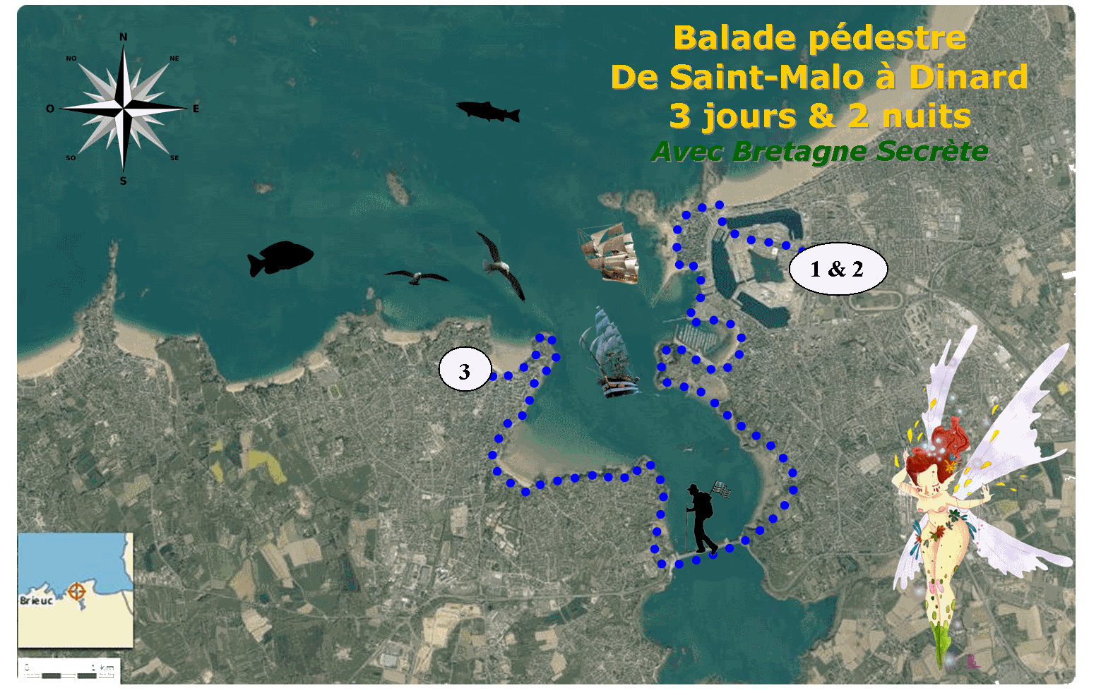 Carte Bretagne Randonnee.Carte Randonnee Pedestre Saint Malo Dinard Bretagne Secrete Agence